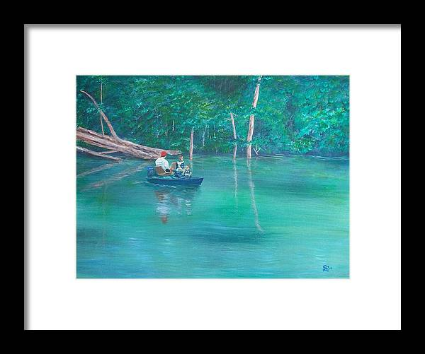 Boats Framed Print featuring the painting On The Lake by Tony Rodriguez