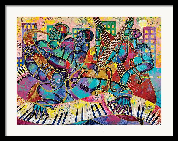 Figurative Framed Print featuring the painting On The Main Stage by Larry Poncho Brown