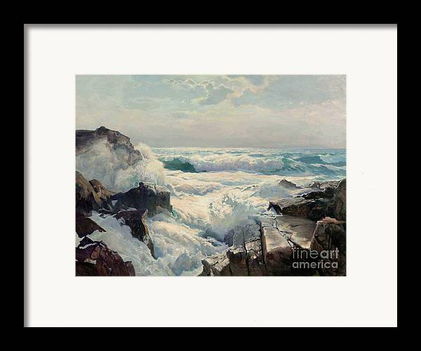 Pd Framed Print featuring the painting On The Maine Coast by Pg Reproductions