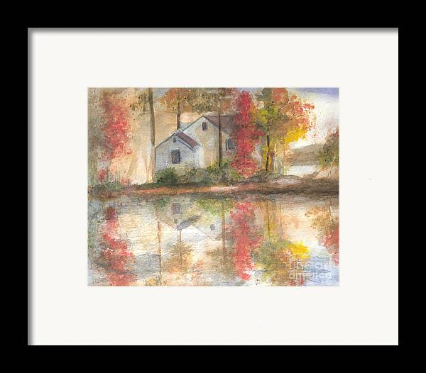 Landscape Framed Print featuring the painting On The Mighty Fraser by Vivian Mosley