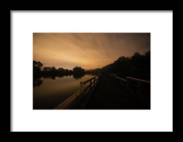 Sunset Framed Print featuring the photograph On The Pier by Jay Anne Boza
