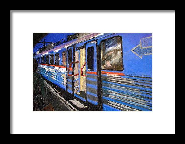 Train Framed Print featuring the painting On The Platform by Art Nomad Sandra Hansen
