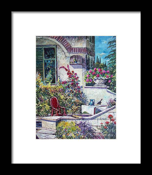 Original Painting Framed Print featuring the painting On The Porch by Sinisa Saratlic