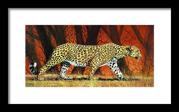 Leopard Framed Print featuring the painting On The Prowl by Don Griffiths