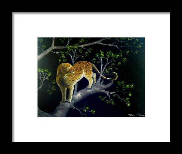 Leopard On A Branch On Black Canvas Framed Print featuring the painting On The Prowl by Mary Kaser