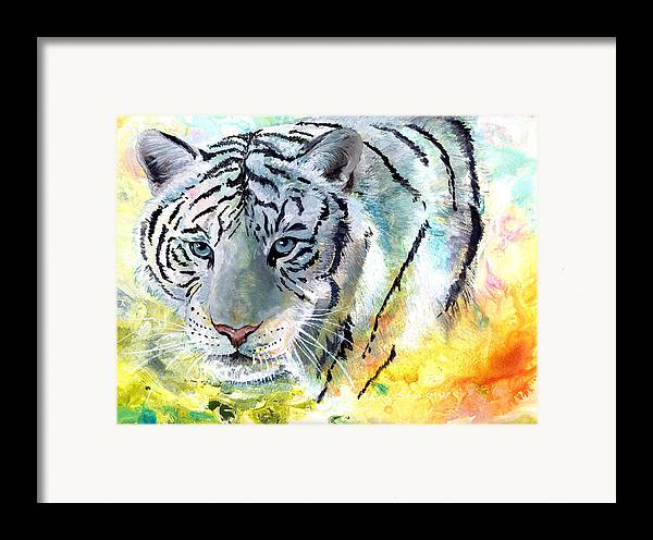 Tiger Framed Print featuring the painting On The Prowl by Sherry Shipley