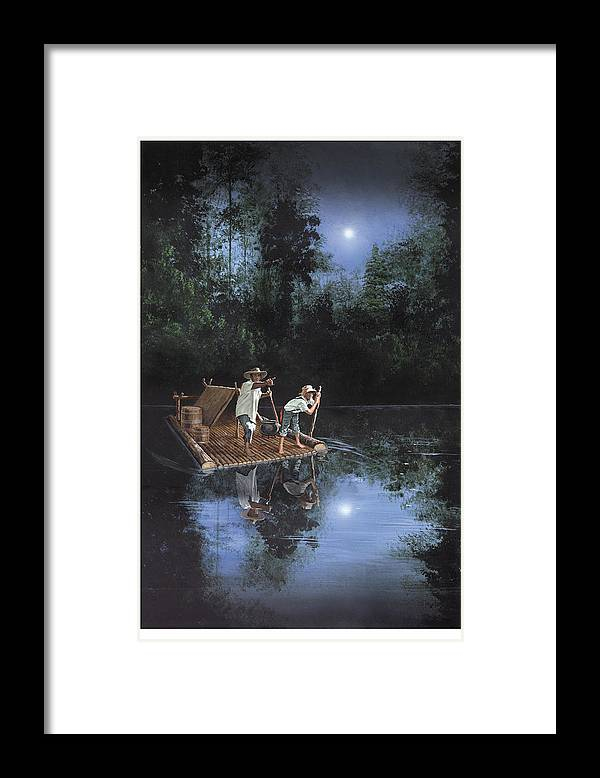 Harold Shull Framed Print featuring the painting On The River by Harold Shull