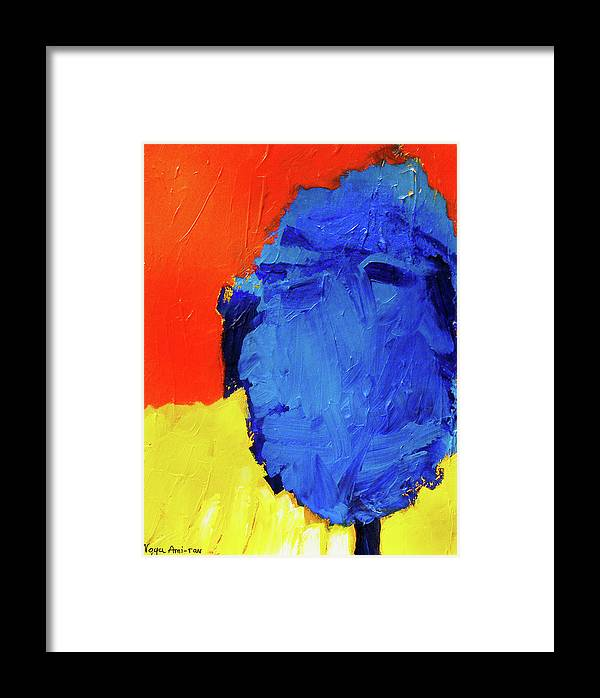 Blue Framed Print featuring the painting On The Road by Noga Ami-rav