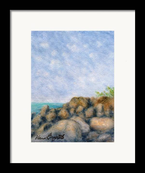 Rainbow Colors Pastel Framed Print featuring the painting On The Rocks by Kenneth Grzesik