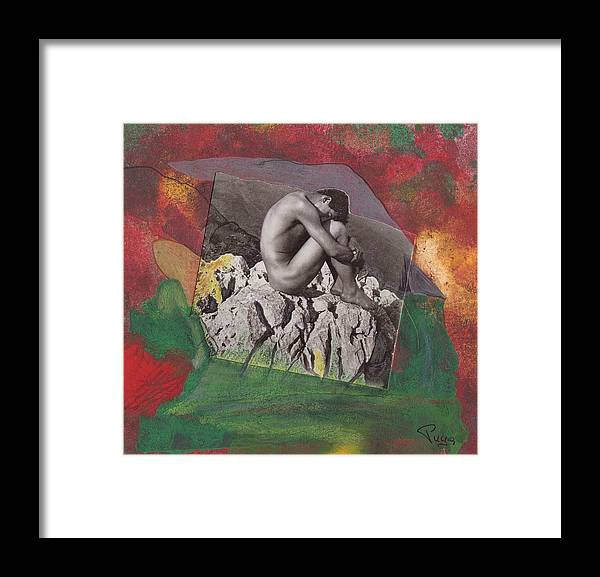 Rocks Framed Print featuring the mixed media On The Rocks by Michael Puya