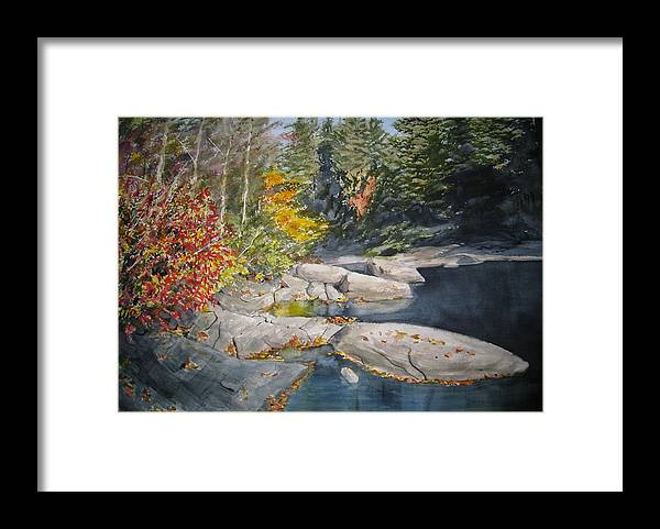 Landscape Framed Print featuring the painting On the Rocks by Shirley Braithwaite Hunt
