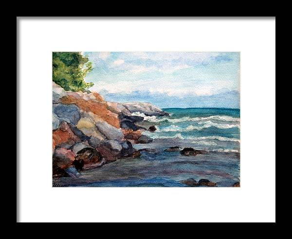Seascape Framed Print featuring the painting On The Rocks by Stephanie Allison