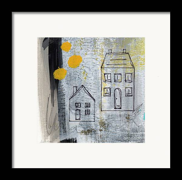 Abstract Framed Print featuring the painting On The Same Street by Linda Woods