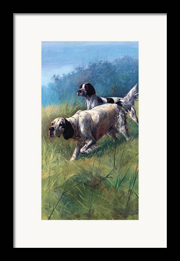 Dogs Framed Print featuring the painting On The Scent by Unknown