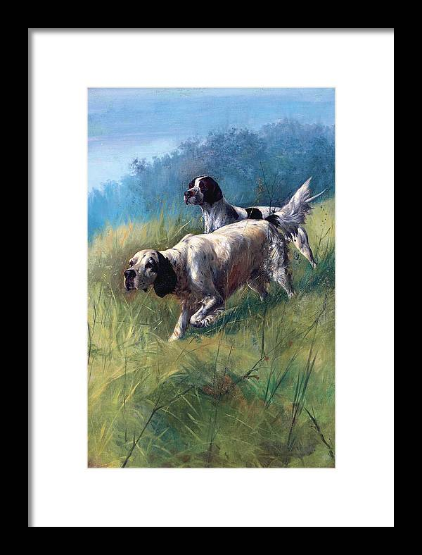Outdoor Framed Print featuring the painting On The Scent by Unknown