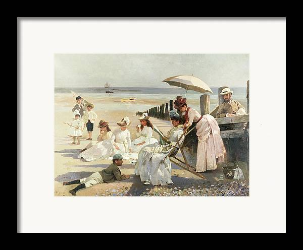 On The Shores Of Bognor Regis - Portrait Group Of The Harford Couple And Their Children Framed Print featuring the painting On The Shores Of Bognor Regis by Alexander M Rossi