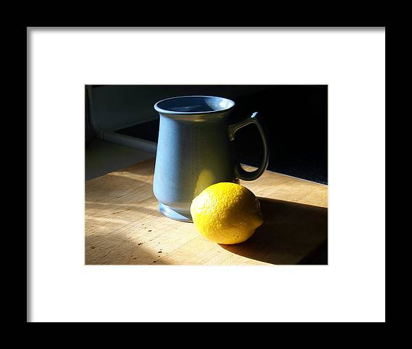 Blue Framed Print featuring the photograph On The Table 3 - Photograph by Jackie Mueller-Jones