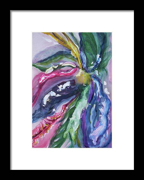 Watercolor Framed Print featuring the painting On the Vine 2 by Suzanne Udell Levinger
