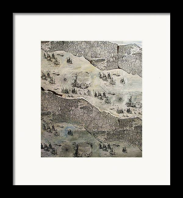 Map Framed Print featuring the mixed media On The Way by Kseniya Nelasova