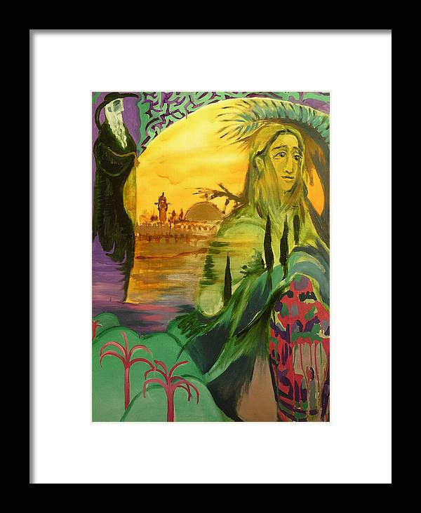Surrealist Framed Print featuring the painting On The Way To Jerusalem by Zsuzsa Sedah Mathe