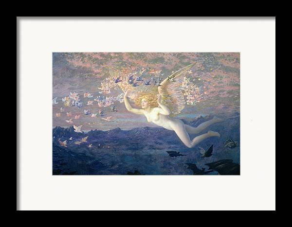 Nude Framed Print featuring the painting On The Wings Of The Morning by Edward Robert Hughes
