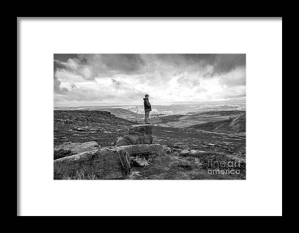 Rocks - Panorama - Sky - Black&white - Moors - Wasteland - Hills - Bleak - Winter Framed Print featuring the photograph On Top by Chris Horsnell