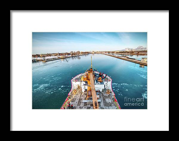 Uscg Framed Print featuring the photograph On Top Uscg Cutter Mackinaw -1014 by Norris Seward