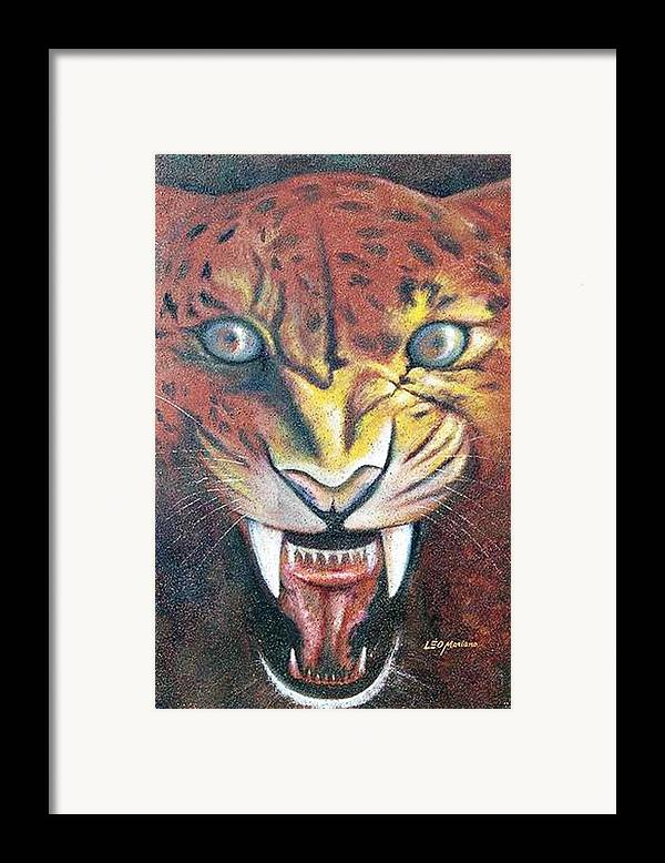 Animal Framed Print featuring the painting Onca Pintada by Leomariano artist BRASIL