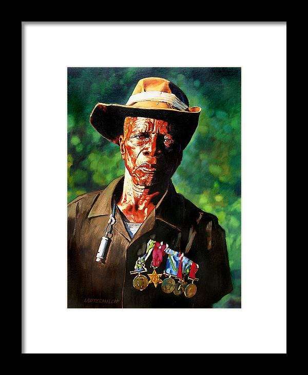Black Soldier Framed Print featuring the painting One Armed Soldier by John Lautermilch