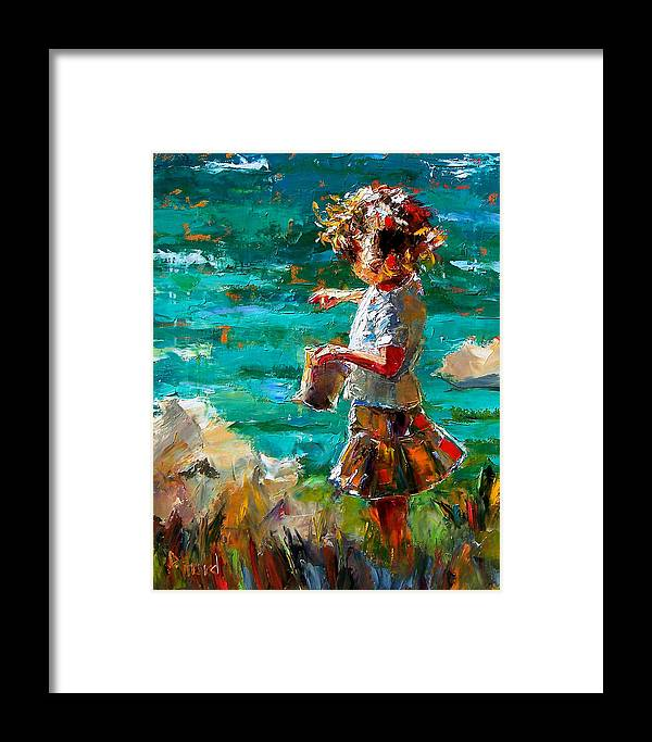 Children Framed Print featuring the painting One At A Time by Debra Hurd