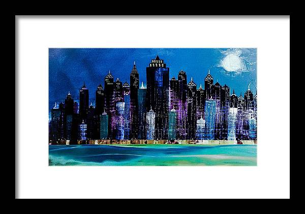 City Framed Print featuring the painting One City Night 9 by Barry Knauff