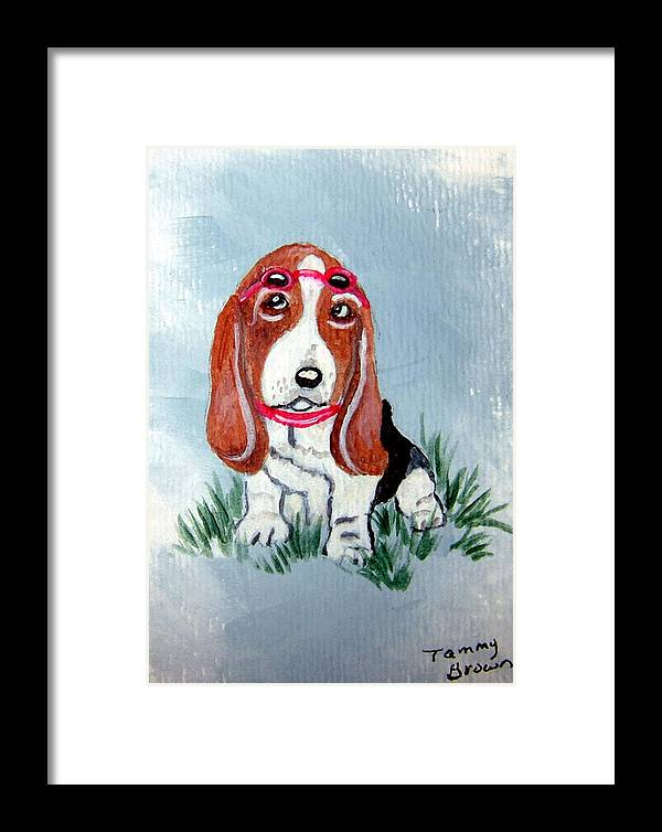 Basset Hound Framed Print featuring the painting One Cool Basset Hound by Tammy Brown