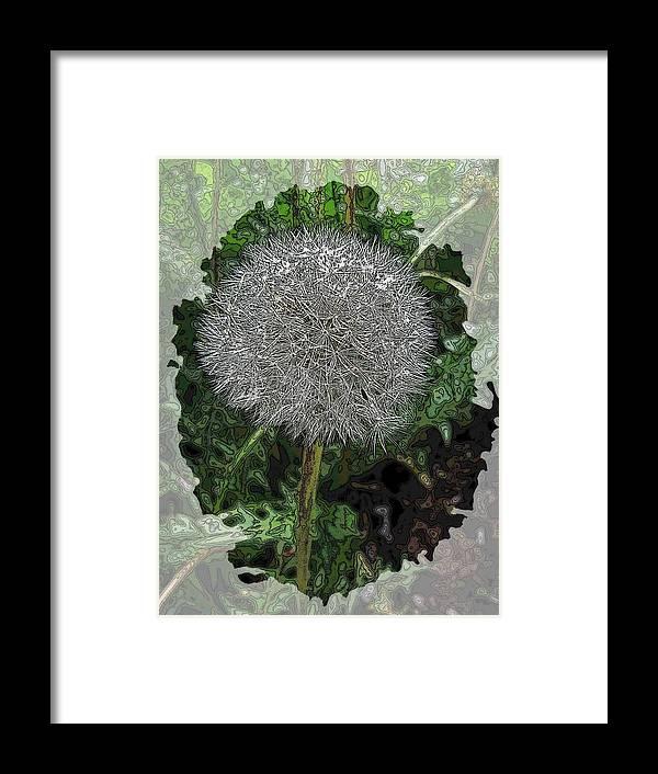 Nature Framed Print featuring the digital art One Dandy Lion by Tim Allen