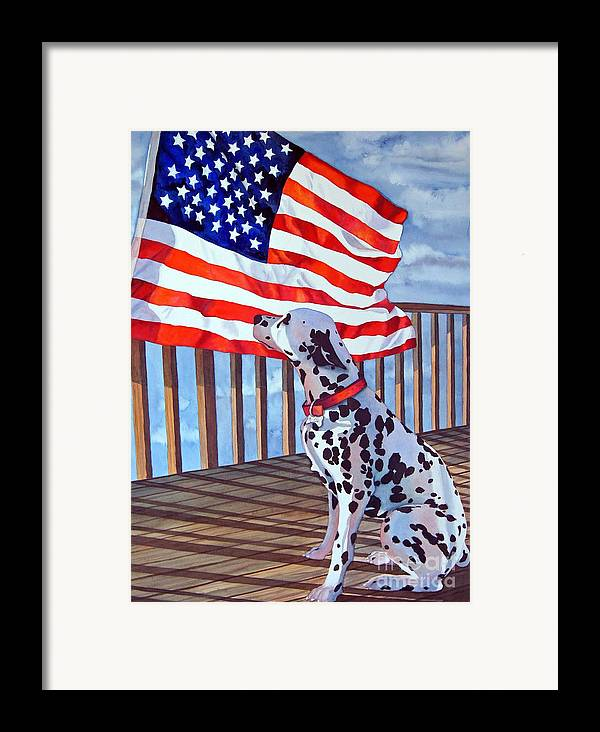 Animals/ Dog/ Dalmatian/u.s. Flag Framed Print featuring the painting One Dog Salute by Gail Zavala