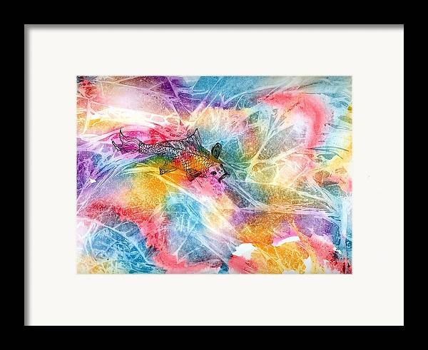 Koi Framed Print featuring the painting One Fat Koi by Laura Johnson