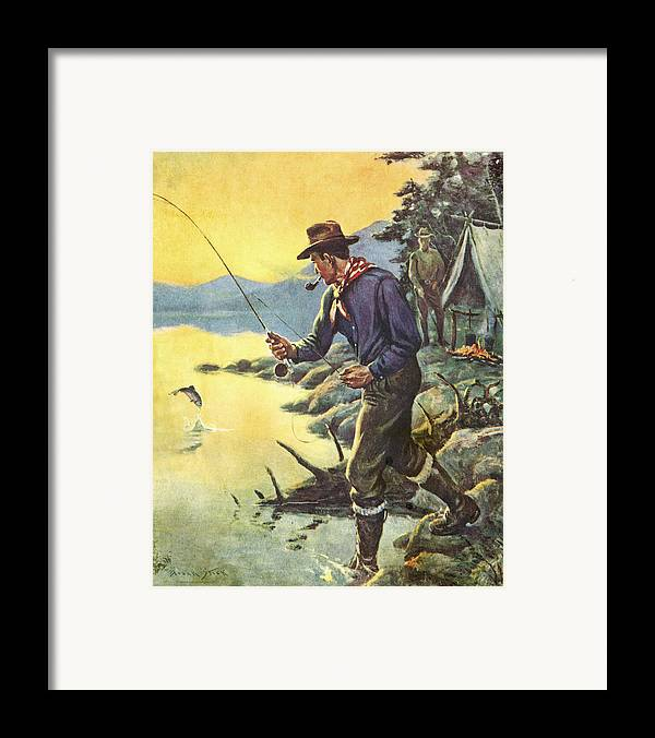 Frank Stick Framed Print featuring the painting One For Breakfast by JQ Licensing
