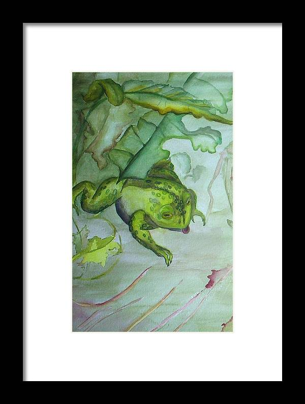 Small Matted And Framed Watercolor Painting Of One Frog In An Abstracted Nature Setting. Framed Print featuring the painting One Frog by Georgia Annwell