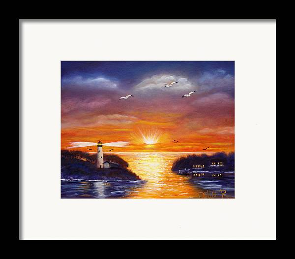 Sunset Framed Print featuring the painting One Glorious Sunset by Darlene Green