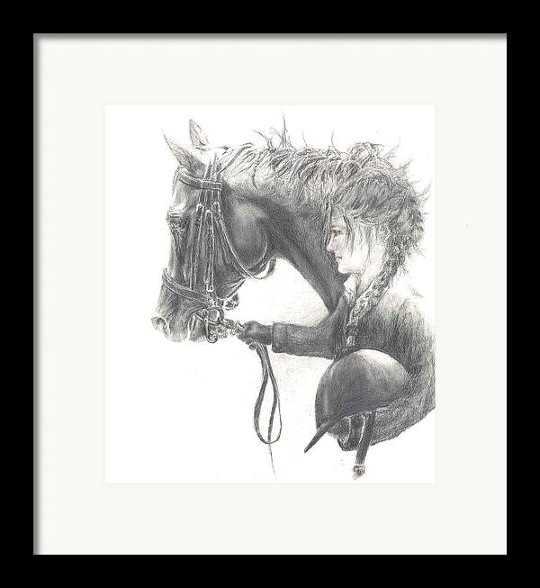 Dressage Framed Print featuring the drawing One Intent by Barbara Widmann