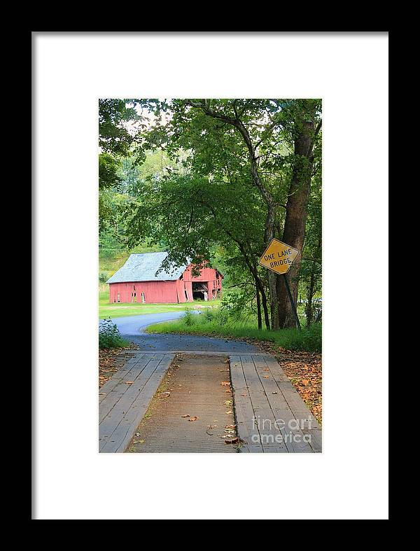 Bridge Framed Print featuring the photograph One Lane Bridge by Carrie Blue