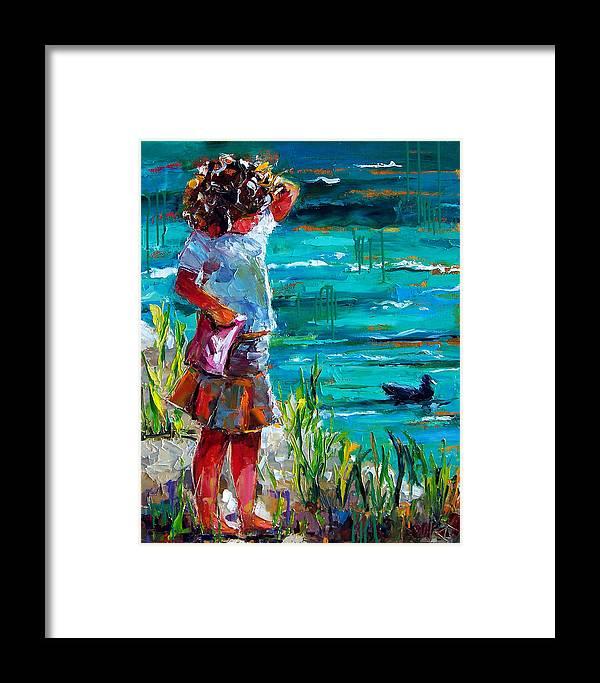 Children Framed Print featuring the painting One Lucky Duck by Debra Hurd