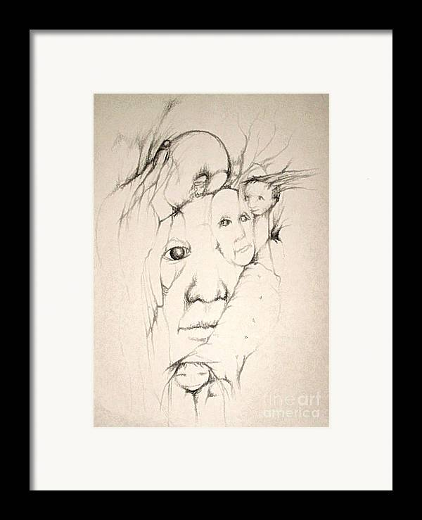 One Eye Framed Print featuring the drawing One Man's Vision by Stephanie H Johnson