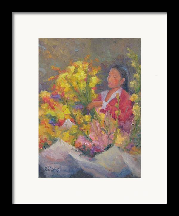Woman Framed Print featuring the painting One More Bouquet by Bunny Oliver
