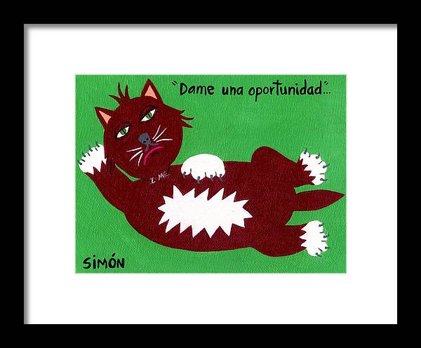 Cats Framed Print featuring the painting One More Chance... by Lourdes SIMON