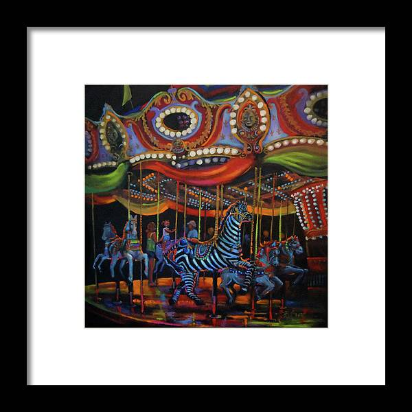 Merry-go-round Framed Print featuring the painting One More Turn by BJ Lane