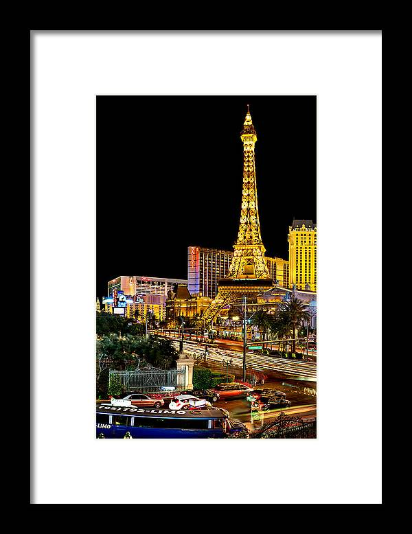 Las Vegas Framed Print featuring the photograph One Night In Vegas by Az Jackson