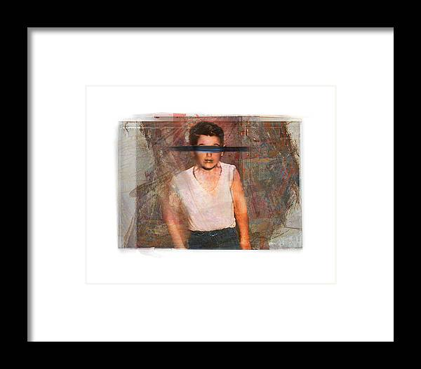 Portrait Framed Print featuring the digital art one of Franks boys by Nuff