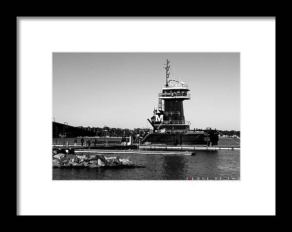 Boat Tug Ship Yorktown Virginia Sea Ocean Vessel Rock Water Winter Framed Print featuring the photograph One Of Two by Jonathan Ellis Keys