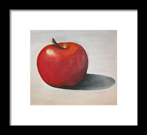 Apple Framed Print featuring the painting One Red Apple by Eileen Kasprick