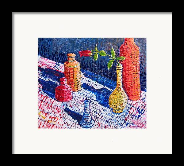 Still Life Framed Print featuring the painting One Rose by Rollin Kocsis